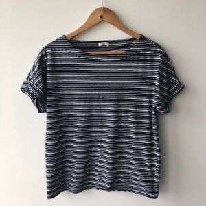 Talbots Navy Blue and White Striped Tee Shirt